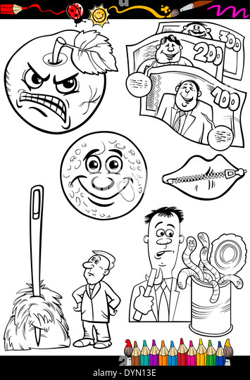 Coloring Book or Page Cartoon Illustration Set of Black and White Proverbs or Sayings for Children - Stock Image