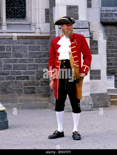Bell man in front of the Christ Church Cathedral, Christchurch, South Island, New Zealand - Stock-Bilder