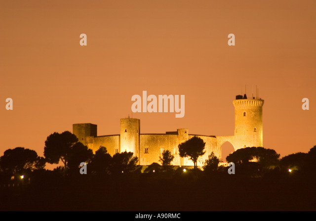 Castell de Bellver at twilight - Stock Image