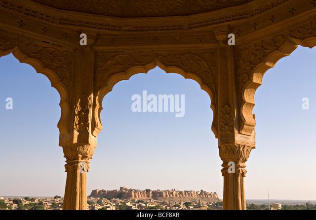 City skyline from Bada Bagh, Jaisalmer, Rajasthan, India - Stock-Bilder
