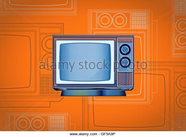 Retro TV vintage mid century style illustration - Stock Image