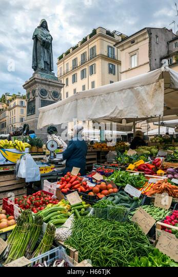 Food market at Campo de Fiori square, Rome, Lazio, Italy - Stock Image