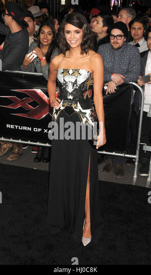 Hollywood, USA. 19th Jan, 2017. Actress Nina Dobrev at the 'xXx - Return of Xander Cage' premiere held at - Stock Image