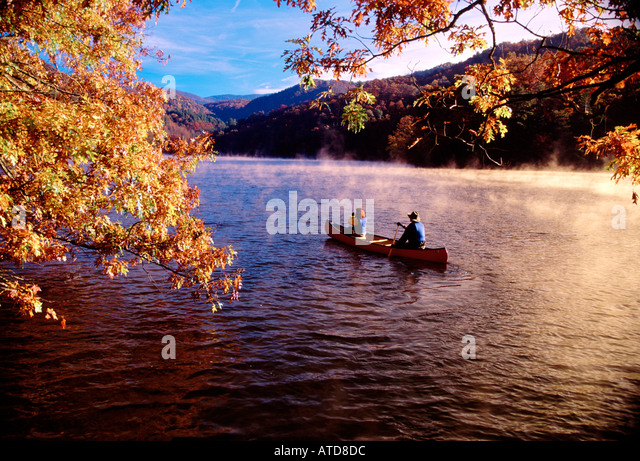 Canoeing Bear Lake North Carolina In The Morning - Stock Image