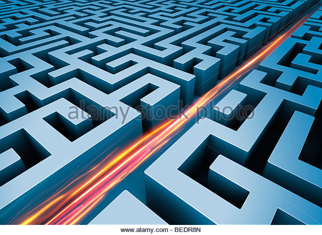Light trails cutting straight path through maze - Stock Image
