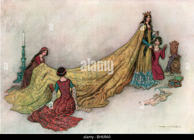 Griselda Robed in Cloth of Gold, by Warwick Goble, from The Complete Poetical Works of Geoffrey Chaucer, 1912. - Stock Image