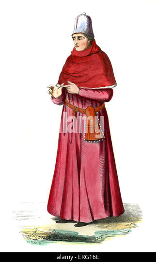 Doctor of the Arts (docteur és-arts) - male costume from the 15th century, wearing crimson robes, a leather - Stock-Bilder
