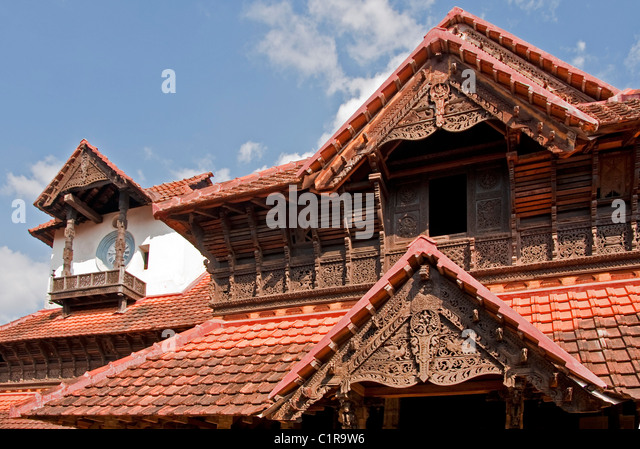 Padmanabhapuram Palace, old 17th century palace of the Rajas, near Trivandrum - Stock-Bilder