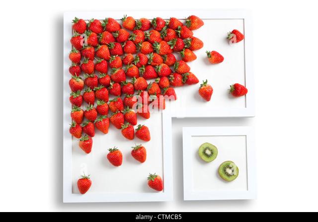 Fresh Strawberries and kiwi fruit - Stock Image