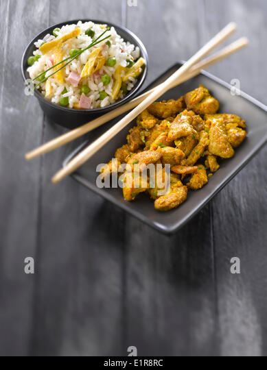 Curried pork with Cantonese rice - Stock Image