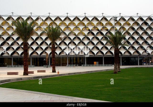 Facade of King Fahad National Library in Riyadh, Saudi Arabia - Stock Image