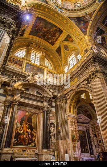 Church of San Gesu, baroque style. Historic center, Old Twon. Genoa. Mediterranean Sea. Liguria, Italy Europe - Stock Image
