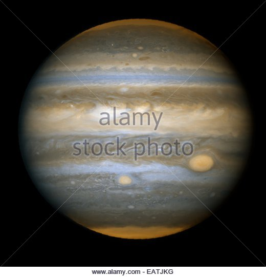 Hubble Space Telescope view of two eye-shaped Jovian storms on Jupiter. - Stock-Bilder