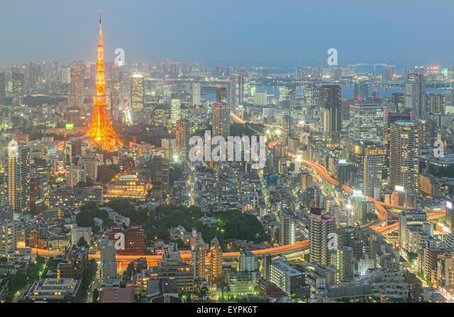 Tokyo tower at night in Tokyo, Japan - Stock Image