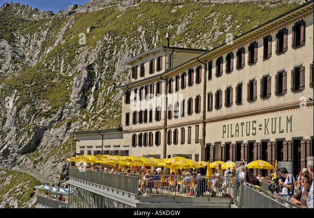 Lucerne Switzerland Pilatus Kulm hotel - Stock Image