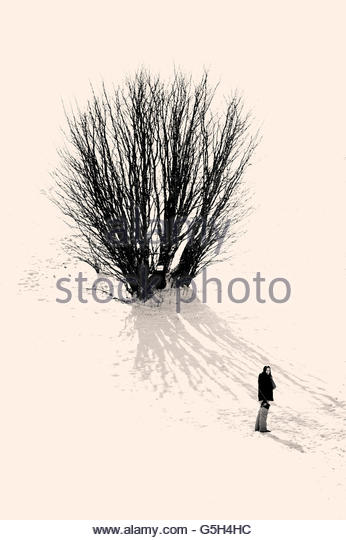 Girl in a snowy contryside - Stock-Bilder