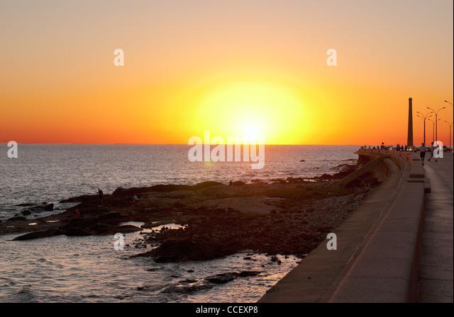 sunset in Montevideo, Uruguay - Stock Image