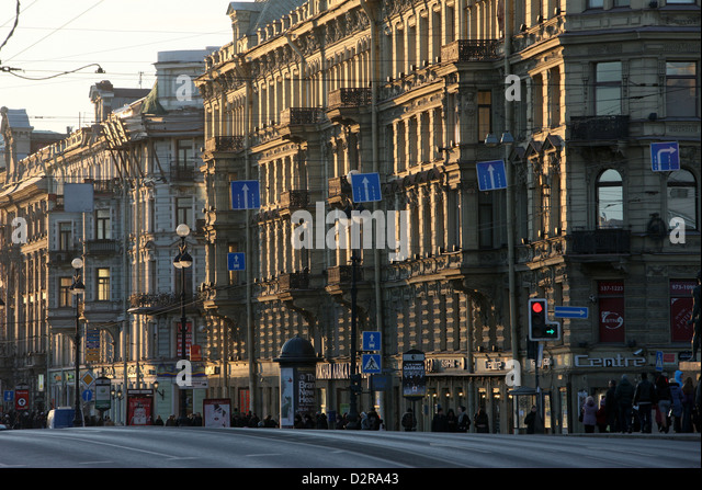 Nevsky Prospekt, the main avenue of St. Petersburg, Russia, Europe - Stock Image