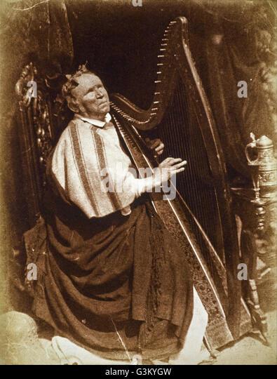 David Octavius Hill and Robert Adamson - Patrick Byrne, about 1794 - 1863. Irish Harpist - Stock Image