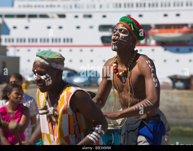 African band playing at the 'V&A waterfront', 'Cape Town', 'South Africa' - Stock Image