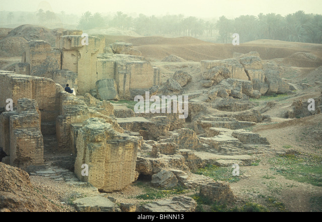 Ancient mud brick ruins of Babylon Mesopotamia Hilla Iraq - Stock Image