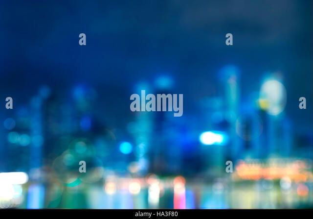 abstract light bokeh of night cityscape of waterfront in singapore - can use to display or montage on product - Stock Image