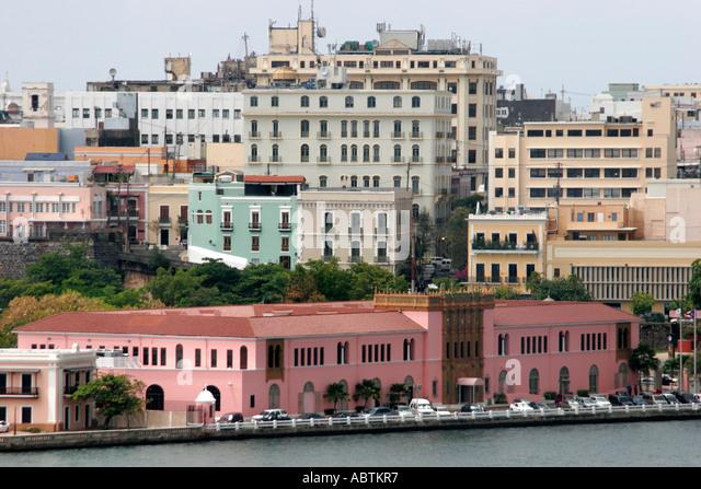 Puerto Rico San Juan El Arsenal de la Marina buildings city waterfront - Stock Image