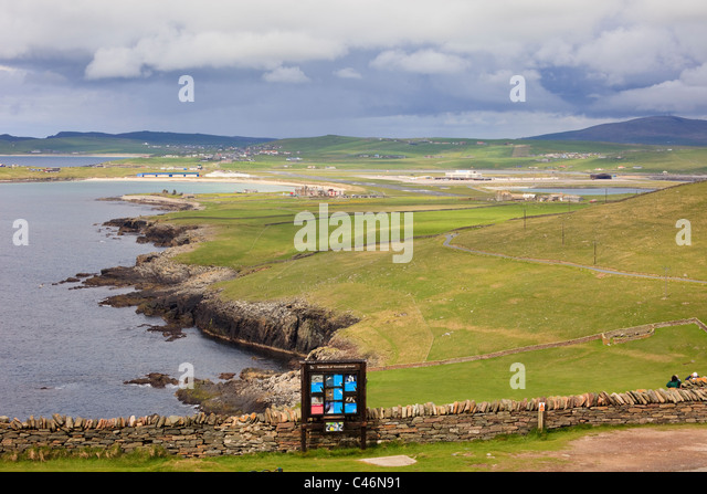 View along the coast to the airport from Sumburgh Head at Sumburgh, South Mainland, Shetland Islands, Scotland, - Stock-Bilder