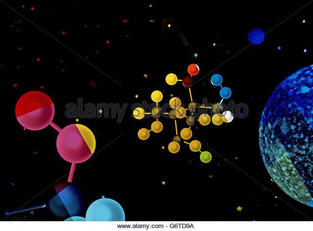 Retro atomic space illustration - Stock Image