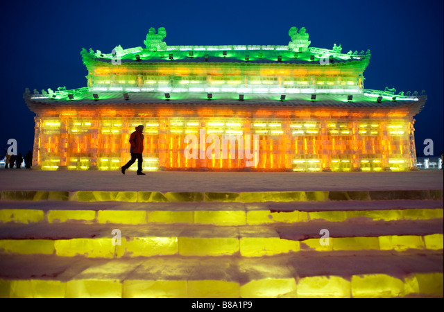 Spectacular illuminated ice sculptures at the Harbin Ice and Snow Festival in Heilongjiang Province China January - Stock-Bilder