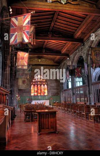 Interior Regimental Manchester Cathedral Lancashire England UK - Stock Image