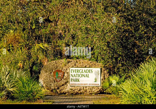 Everglades National Park Florida entrance marker sign - Stock Image