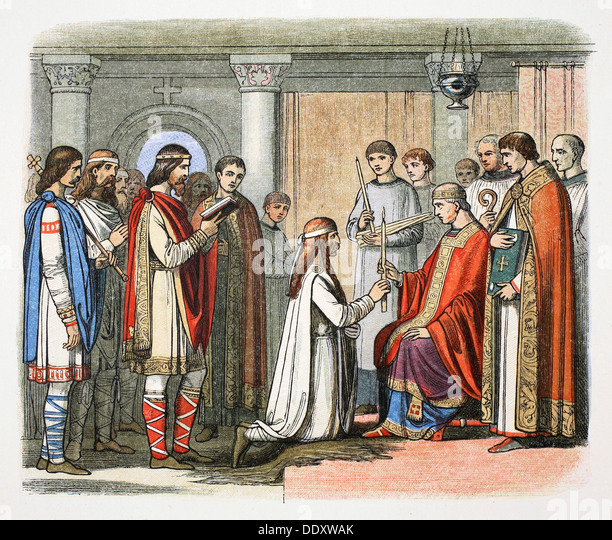 Baptism of King Guthrum, 878 (1864). Artist: James William Edmund Doyle - Stock Image