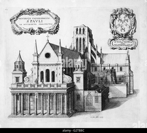 Hollar, Wenceslaus - print; etching - St Paul's from the west - - Stock Image