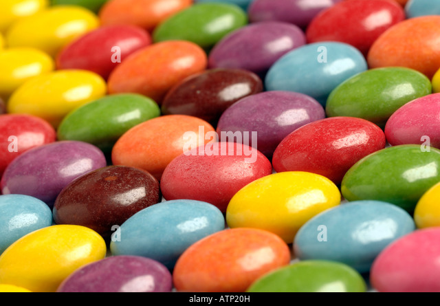 Multi coloured sweets - Stock Image