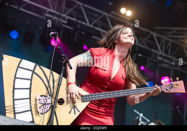 Marianne Sveen with a balalaika from the Norwegian girl band Katzenjammer performing live at Heitere Open Air in - Stock Image