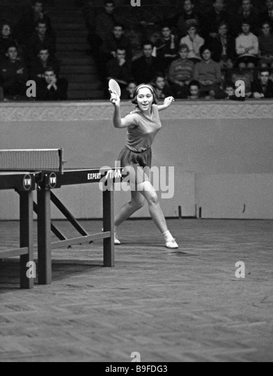 Member of the Soviet national table tennis team Laima Amelina competing - Stock Image