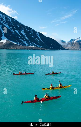 Kayaking at Smeerenburg Glacier, Spitsbergen, Svalbard, Arctic - Stock-Bilder