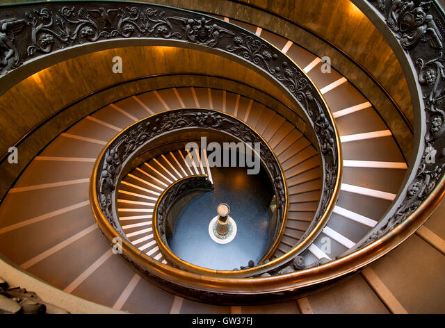 Round staircase in Vatican museum, view from above. Vatican on August 19, ‎2016 in Rome, Italy - Stock Image