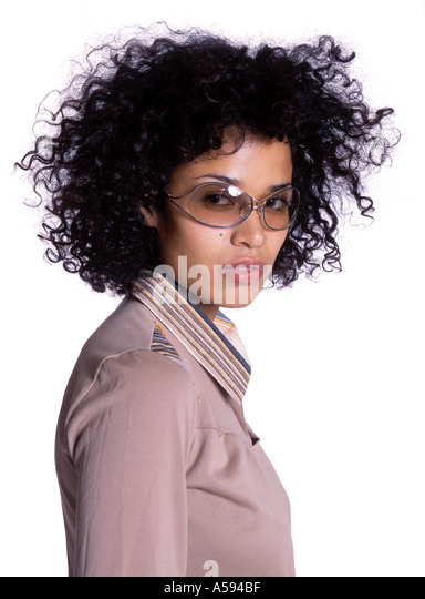 Young Woman With Curly Hair And Sunglasses - Stock Image