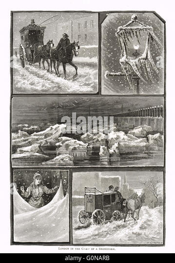 Victorian London in a snowstorm - Stock Image