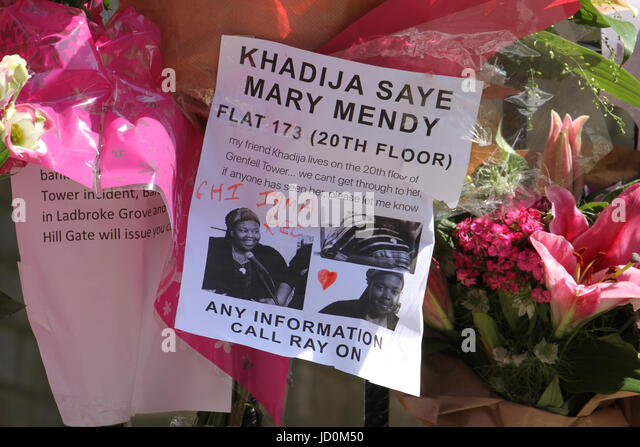 London, UK. 16th June 2017 - Memorial message for Khadija Saye, a Grenfell resident outside the Notting Hill Methodist - Stock Image