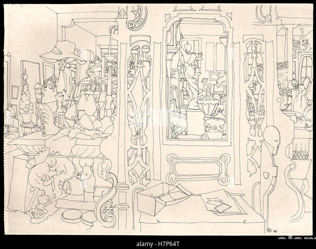 Kaffe Fassett pen and ink drawing dated 1966. - Stock Image