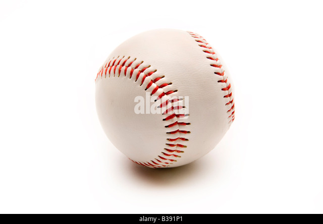 Baseball on white with shadow - Stock Image