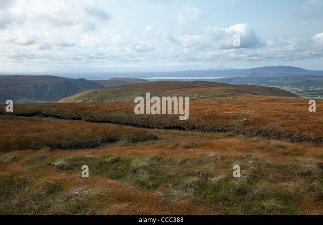 View from the Western Ox Mountains to Lough Conn and Croagh Patrick, County Mayo, Ireland. - Stock-Bilder