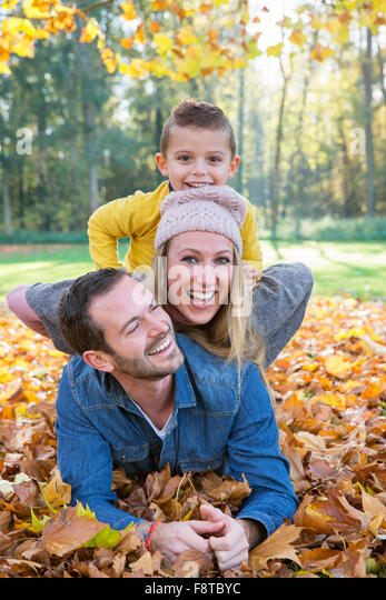 Family playing in Park - Stock Image