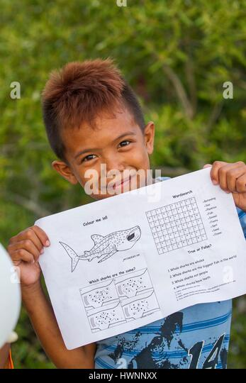 Philippines, Luzon, Sorsogon Province, Donsol, boy showing homework with exercises using whale shark - Stock-Bilder