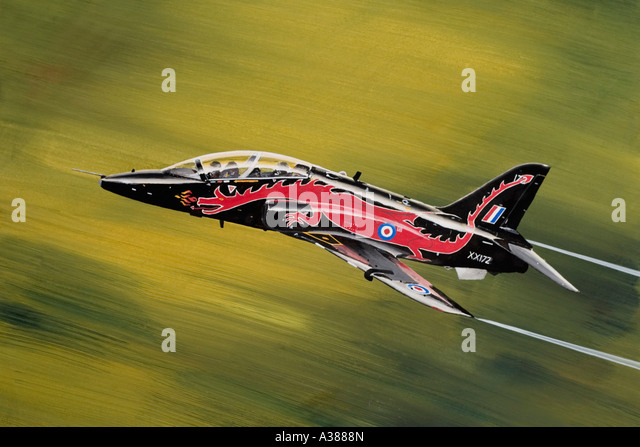 Royal Air Force training aircraft British Aerospace Hawk T1 in low pass - Stock Image
