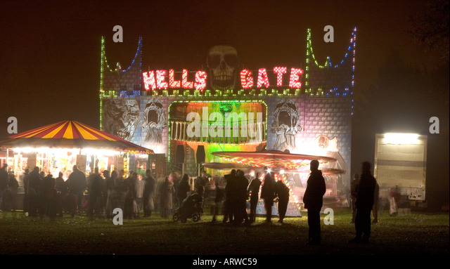 Haunted house at bonfire night Fairground Tring Herts - Stock Image