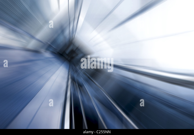 Blue tint motion blur architectural abstraction - Stock Image
